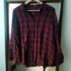 EXPRESS Maroon Flannel Button Up